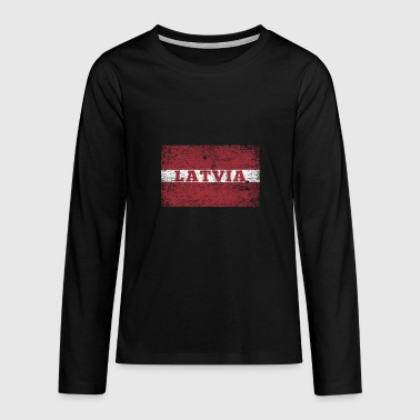 Latvia flag Baltic Riga gift Baltic Sea - Teenagers' Premium Longsleeve Shirt