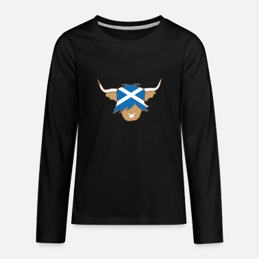 Cow Highland cow scottish flag blue and white coo - Teenagers' Premium Longsleeve Shirt