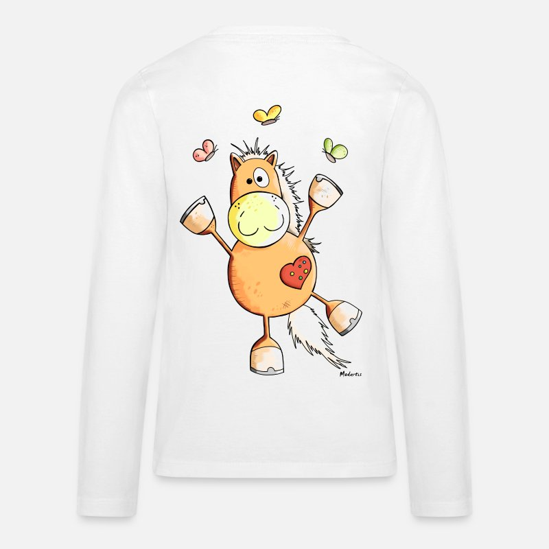 Bestsellers Q4 2018 Long sleeve shirts - Horse with Butterflies - Teenage Premium Longsleeve Shirt white
