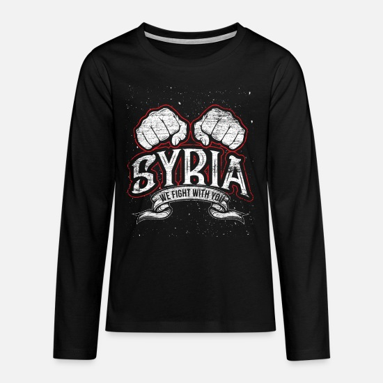 Flag Long sleeve shirts - Free Syria - Teenage Premium Longsleeve Shirt black