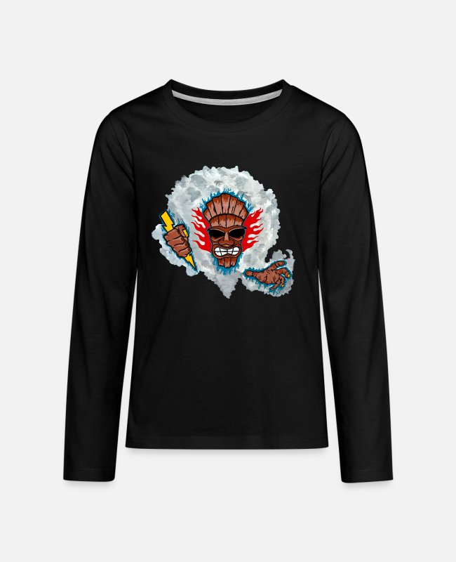 Artist Long-Sleeved Shirts - Tiki God - Teenage Premium Longsleeve Shirt black