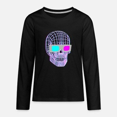 3d 3D skull with 3D glasses - Teenage Premium Longsleeve Shirt