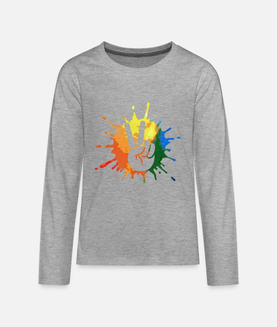 Hippie Goddess Long-Sleeved Shirts - Peace peace movement - Teenage Premium Longsleeve Shirt heather grey