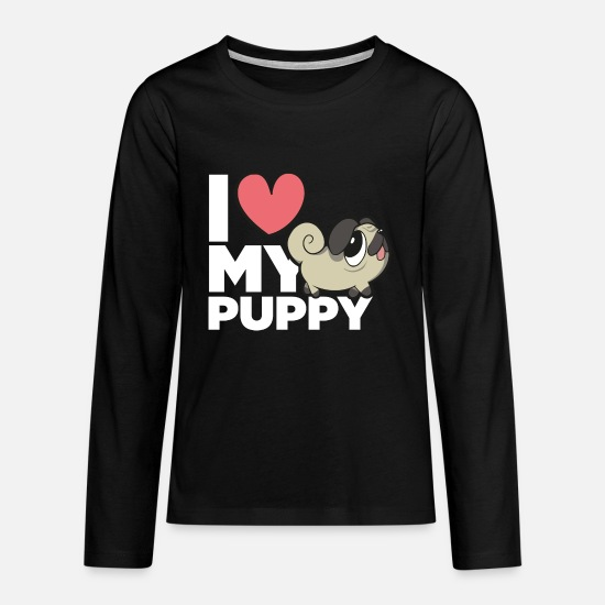 Dog Owner Long sleeve shirts - I love my puppy - Teenage Premium Longsleeve Shirt black