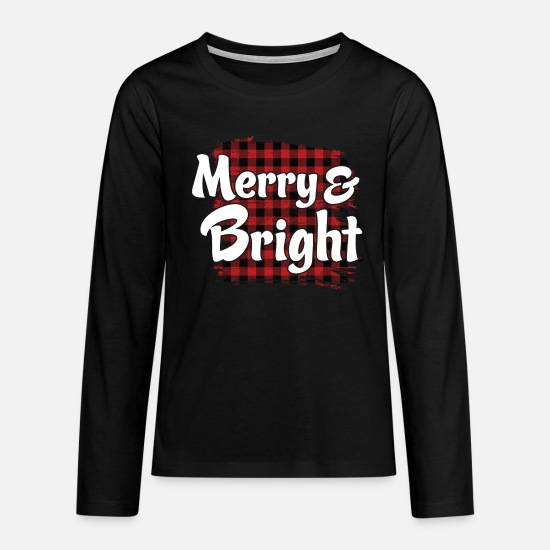 Christmas Long sleeve shirts - Merry And Bright - Teenage Premium Longsleeve Shirt black