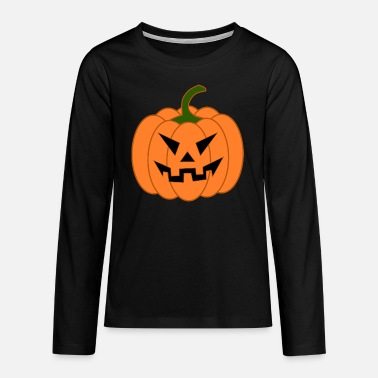 Orange Halloween Kürbis Kürbisgeist - Teenager Premium Langarmshirt