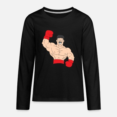 Boxer with red boxing gloves - Teenage Premium Longsleeve Shirt