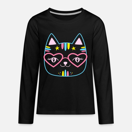 Birthday Long sleeve shirts - Cute cat cartoon gift girl - Teenage Premium Longsleeve Shirt black