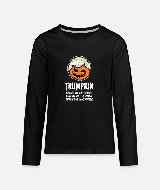 Halloween Costume Long-Sleeved Shirts - Trumpkin Orange on the outside Hollow on the - Teenage Premium Longsleeve Shirt black