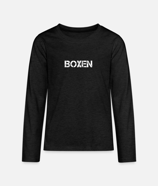 Fighter Long-Sleeved Shirts - boxer - Teenage Premium Longsleeve Shirt charcoal grey