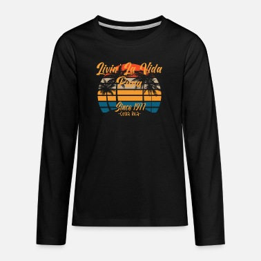 Palm Trees Since 1977 Costa Rica Vida Pura Vintage Sunset Pal - Teenage Premium Longsleeve Shirt
