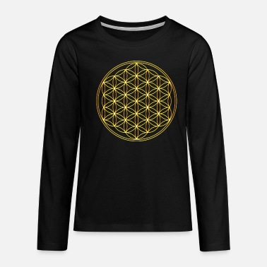 Sacred Geometry Flower of Life Gold Harmony Balance Yoga Symbol - Teenage Premium Longsleeve Shirt