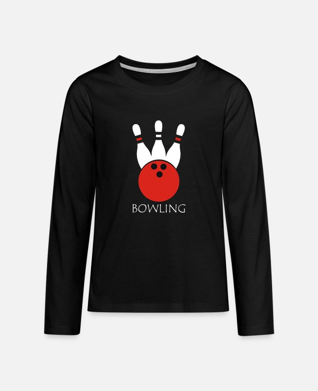 Bowling Club Long-Sleeved Shirts - Bowling Gift Spare Strike PIN - Teenage Premium Longsleeve Shirt black