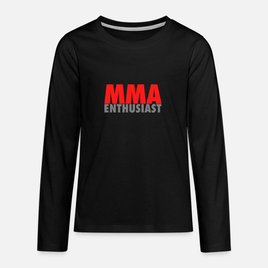 Mma Long sleeve shirts - MMA Enthusiast Cage Fighter Octagon Design - Teenage Premium Longsleeve Shirt black
