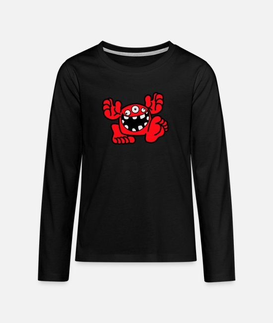 Art Long-Sleeved Shirts - Proud To Be A Monster Cartoon by Cheerful Madness! - Teenage Premium Longsleeve Shirt black