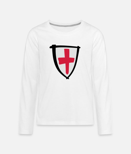Soccer Long-Sleeved Shirts - ENGLANDbadgenewsmall - Teenage Premium Longsleeve Shirt white