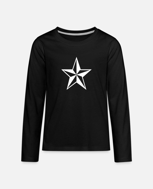 Techno Music Long-Sleeved Shirts - Star - Teenage Premium Longsleeve Shirt black
