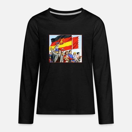 Flag Long sleeve shirts - DDR parade - Teenage Premium Longsleeve Shirt black