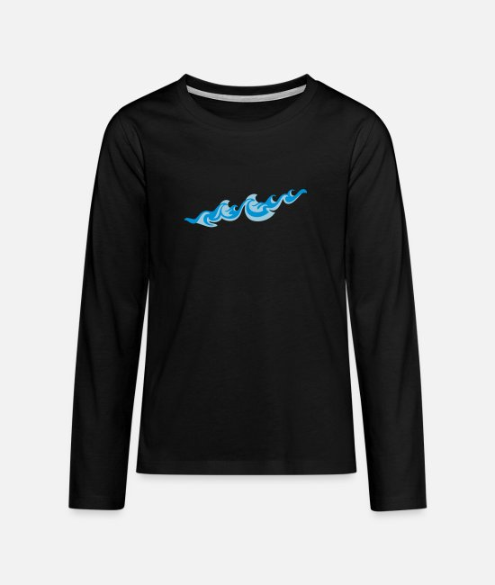 Wave Long-Sleeved Shirts - Waves 2C - Teenage Premium Longsleeve Shirt black