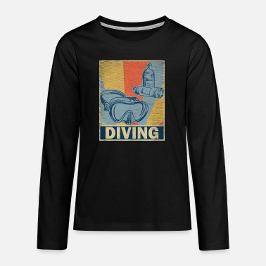 Retro vintage diver diving hobby gift - Teenage Premium Longsleeve Shirt