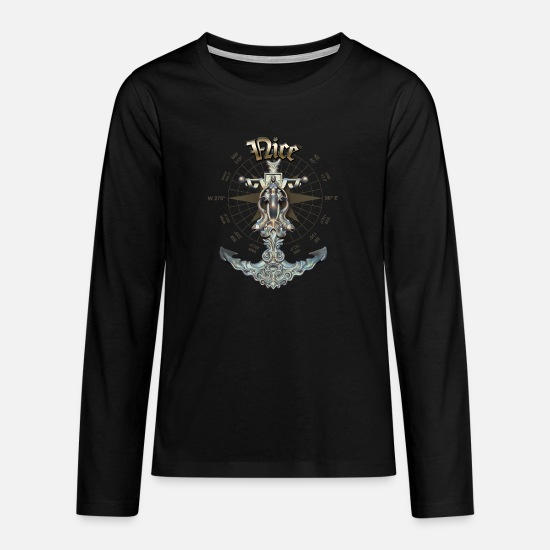 Yacht Long sleeve shirts - Nice Anchor Nautical Sailing Boat Summer - Teenage Premium Longsleeve Shirt black