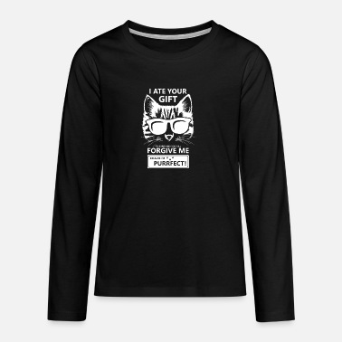 Cat Purrfect Valentine's Day cat sunglasses gift - Teenage Premium Longsleeve Shirt