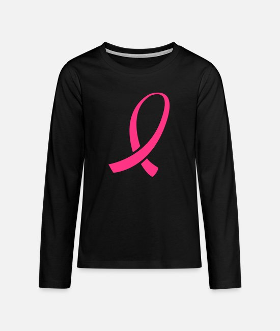 Breast Cancer Awareness Long-Sleeved Shirts - Pink Ribbon - Teenage Premium Longsleeve Shirt black