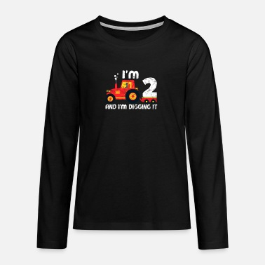 Year Tractor Birthday Shirt: I love being 2 - Teenage Premium Longsleeve Shirt