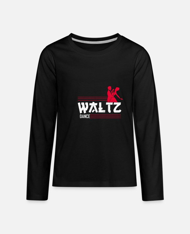 Ingenious Long-Sleeved Shirts - red texture waltz dance cool gift - Teenage Premium Longsleeve Shirt black