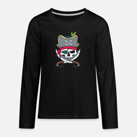 Flag Long sleeve shirts - Pirate skull and crossbones - pirate costume - Teenage Premium Longsleeve Shirt black