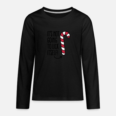 Jokes It's not going to lick itself (candy cane) - Teenage Premium Longsleeve Shirt