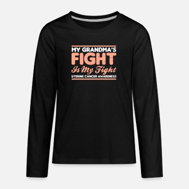 Endometrial Cancer Survivor Uterine Cancer My Grandmas Fight is My Gift - Teenage Premium Longsleeve Shirt