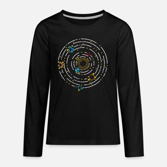 Outerspace Long Sleeve Shirts - Planet solar system - Teenage Premium Longsleeve Shirt black