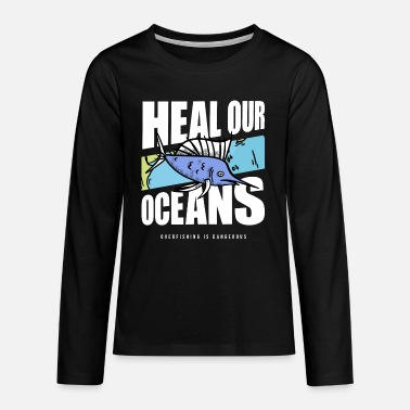 Whale Overfishing Protest Earth Day Climate Change Coral - Teenager Premium Langarmshirt