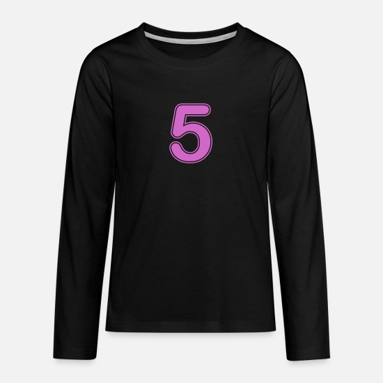 Birthday Long sleeve shirts - Number - Shirt number - 5 - Teenage Premium Longsleeve Shirt black