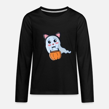 Dress Up Halloween ghost dressed up as a cat - Teenage Premium Longsleeve Shirt