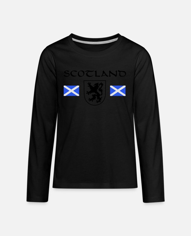 "Macbeth Long-Sleeved Shirts - Scotland's ""Rampant Lion"" - Teenage Premium Longsleeve Shirt black"