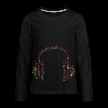 Headphones made of notes Colorful music gift idea - Teenagers' Premium Longsleeve Shirt