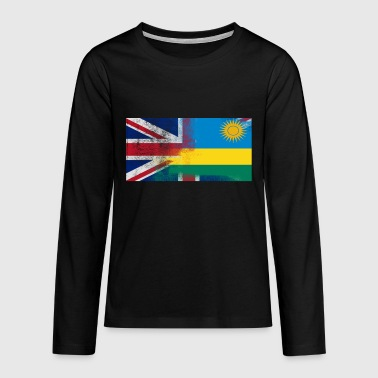 British Rwanda Half Rwanda Half UK Flag - Teenagers' Premium Longsleeve Shirt