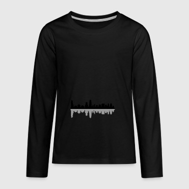 chicago skyline - Teenager premium T-shirt med lange ærmer