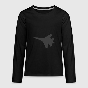 Military fighter jet plane jet silhouette - Teenagers' Premium Longsleeve Shirt