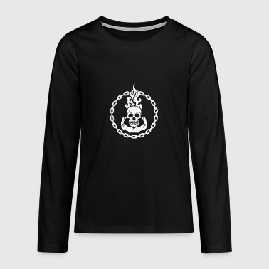 Keep Hands Skull Skull Flame Voodoo Keete Death - Teenagers' Premium Longsleeve Shirt