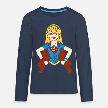 DC Super Hero Girls Supergirl Typographie - T-shirt manches longues Premium Ado