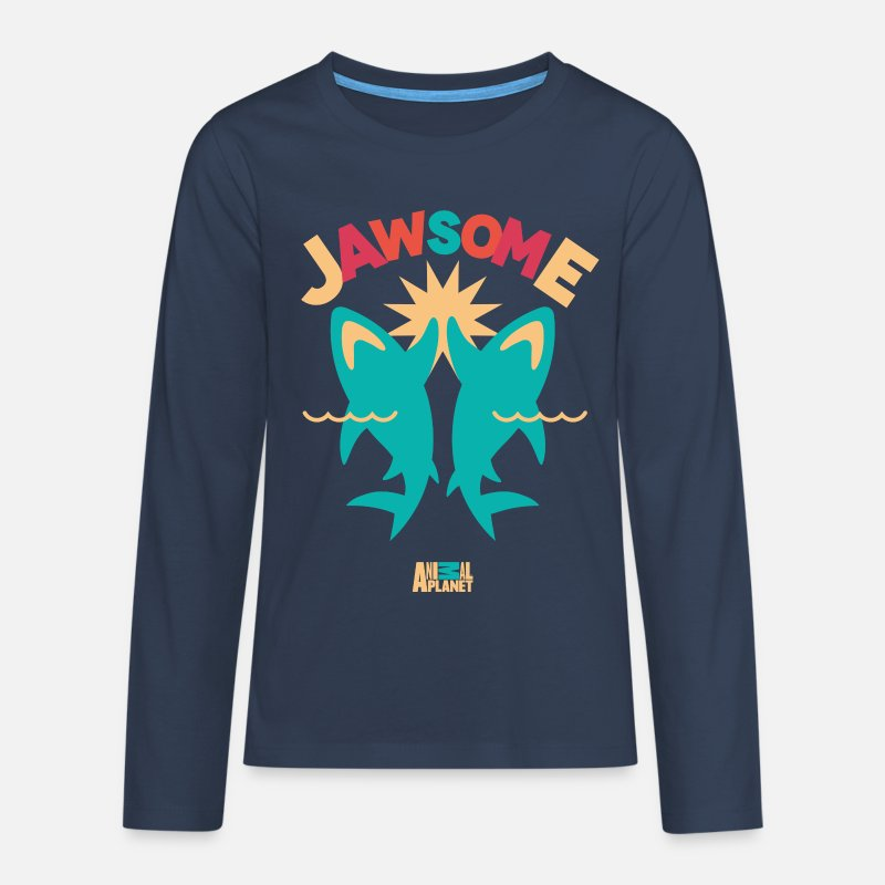 Officialbrands Long sleeve shirts - Animal Planet Ocean Humour Sharks Are Jawsome - Teenage Premium Longsleeve Shirt navy