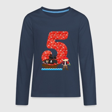 Birthday Birthday number 5 pirate pirate ship boy - Teenagers' Premium Longsleeve Shirt