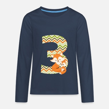 Number Birthday number 3 fox - Teenagers' Premium Longsleeve Shirt