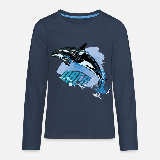 Animal Planet Long Sleeve Shirts - Animal Planet Orca - Teenage Premium Longsleeve Shirt navy