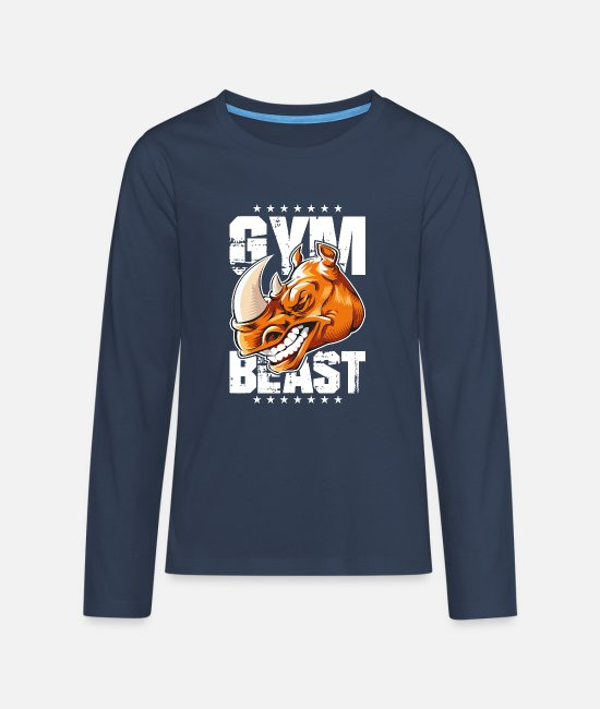 Fighter Long-Sleeved Shirts - Rhinoceros gym beast - Teenage Premium Longsleeve Shirt navy