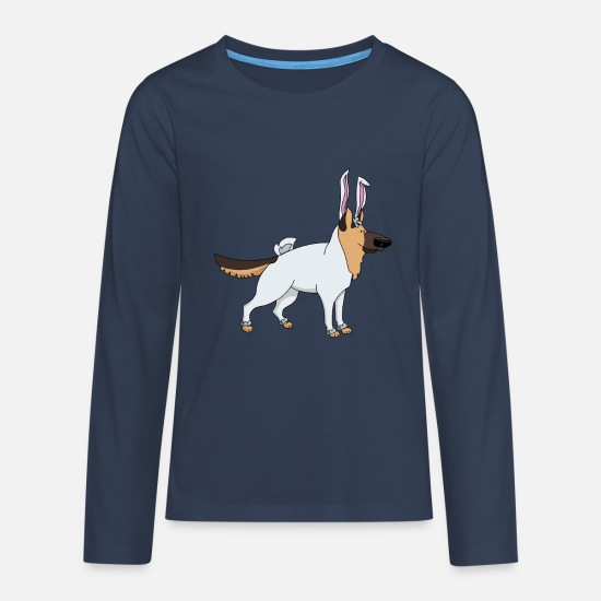 German Shepherd Long Sleeve Shirts - German shepherd in easter bunny costume Easter - Teenage Premium Longsleeve Shirt navy