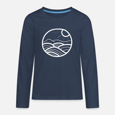 Swell ocean illustration wave water surfer - Teenage Premium Longsleeve Shirt